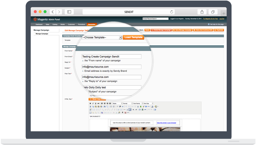 Sendy Magento Newsletter Campaign creator manager